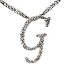 18ct white gold diamond letter g