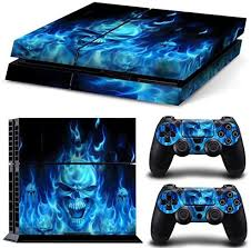 Amazon Com Gam3gear Vinyl Sticker Pattern Decals Skin For Ps4 Console Controller Not For Ps4 Slim Ps4 Pro Blue Flame Skull Video Games