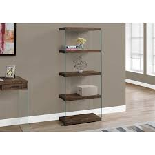 brown bookcase with glass shelves