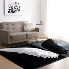 Angel Wings Living Room Carpet Bedroom Alfombra Larege Rugs And Carpets For Home Kids Room Play Tapete Black And White Mat Carpet Aliexpress
