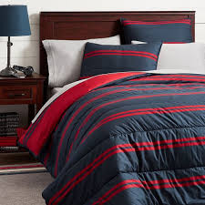 stripe comforter sham navy red
