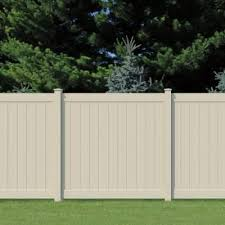 Pro Series 6 Ft X 6 Ft Vinyl Woodbridge Tan Privacy Fence Panel 118663 The Home Depot Vinyl Fence Panels Fence Panels Vinyl Privacy Fence