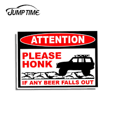 Jump Time 13cm X 9 3cm Funny For Jeep Xj Cherokee Beer Fall Out Sticker Warning Vinyl Decal Graphic Waterproof Car Decoration Car Stickers Aliexpress