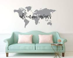 Amazon Com Susie85electra Adventure Awaits World Map Quote Vinyl Wall Decal World Map Wall Decal Map Wall Sticker Home Kitchen