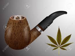 木製の喫煙パイプと大麻葉、抽象的なベクトルのアートの図;イメージに ...