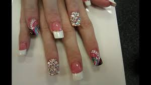 white tip nails with diamonds