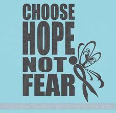 Choose Hope Not Fear Wall Decor Vinyl Decals Sticker With Cancer Ribbon 19x23