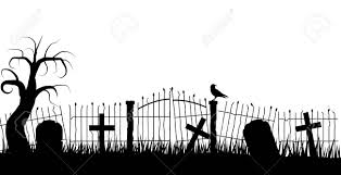 Halloween Graveyard Fence Silhouette With A Raven And Tombstones Royalty Free Cliparts Vectors And Stock Illustration Image 128920726