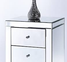 2 mirrored 3 drawer bedside tables