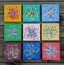 nine original abstract flower paintings