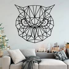 Art Geometric Owl Wall Sticker Home Decoration Accessories Wall Decals Kids Room Decal Creative Stickers For Bedroom Wu119 Wall Stickers Aliexpress
