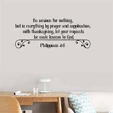 Amazon Com Wall Sticker Quote Wall Decal Funny Wallpaper Be Anxious For Nothing But In Everything By Prayer And Supplication With Thanksgiving Philippians 4 6 For Kids Nursery Bedroom Living Room Home Kitchen