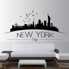 Home Decor Large Nyc New York City Skyline Wall Decals City Skyline Silhouette Wall Sticker Home Bedroom Decoration Ay810 Wall Stickers Aliexpress