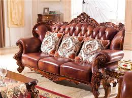 leather solid wood carving sofa