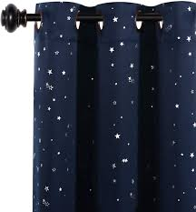 Amazon Com H Versailtex Blackout Curtains Kids Room For Boys Girls Thermal Insulated Twinkle Silver Stars Pattern Curtain Drapes Grommet Top 1 Panel 52 W X 63 L Navy Home Kitchen