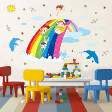 Cartoon Pvc Wall Sticker Colorful Rainbow Wave Clouds Dolphin Childhood Children Playing Stickers Kids Room Bedroom Decor Decals Wall Stickers Aliexpress
