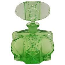 czech green cut glass perfume bottle