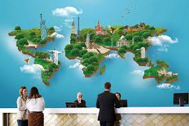 famous landmarks 3d world map wallpaper