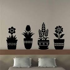 Wall Decal Flower Plant Silhouettes Rustic Pottery Vinyl Art