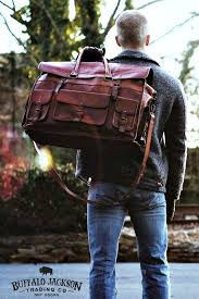 buffalo leather travel duffle bag