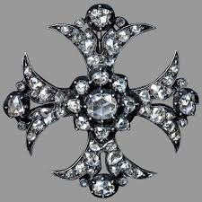 antique old rose cut diamond maltese