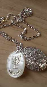 israel menorah pearl pendant on