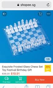 32 chess pieces 16 frosted glass 16