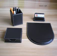 wooden leather desk office stationery