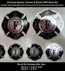 Product Iaff Firefighter Decals Set Chrome Silver Black Premium Quality 0090
