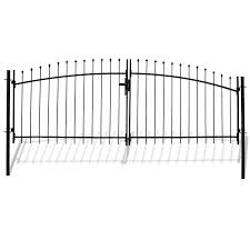 Aleko 11 5 Ft Black Steel Galvanized Steel Driveway Gate In The Driveway Gates Department At Lowes Com