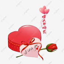 عيد الحب أحمر على شكل قلب وردة مرسومة باليد على حلوة Png وملف