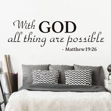 With God All Things Are Possible Quote Wall Decal Bedroom Living Room Bible Verse Matthew 19 26 Religion Quote Wall Sticker Wall Stickers Aliexpress