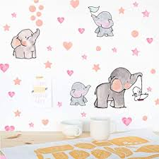Amazon Com Adorable Elephant Wall Decal Lovely Family Elephant With Love Heart Stars Wall Sticker Baby Nursery Bedroom Classroom Decoration Arts Crafts Sewing
