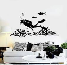 Vinyl Wall Decal Scuba Diving Center Diver Ocean Stickers Murals Ig4706 Ebay