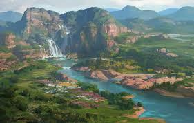 hills waterfall art painted