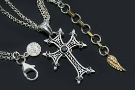 cross black zircon silver necklace pt 155b