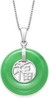 sterling silver natural jade good luck