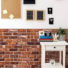 Amazon Com Wallies Vinyl Wall Decals Peel And Stick Wallpaper Faux Brick Wall Decal 25 X 38 2 Pc Home Kitchen