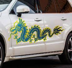 Blue Flame Dragon Car Sticker Tenstickers