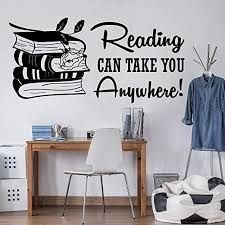 Amazon Com Wall Stickers Murals Large Reading Can Take You Anywhere Book Wall Decal Library Study Inspirational Quote Book Education Wall Sticker Classroom Art 85x41cm Kitchen Dining