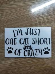 I M Just One Cat Short Of Crazy Car Decal Sticker Crazy Cat Lady Window Vinyl