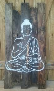 rustic buddha wall decor on recycled