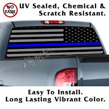 Thin Blue Line Tactical American Flag Reverse Facing Back Window Graphic