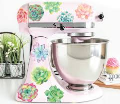 Amazon Com Succulent Watercolor Vinyl Decals For Kitchen Mixers Succulent Mixer Stickers Fits Most Kitchen Aid And Other Brand Stand Mixers Handmade