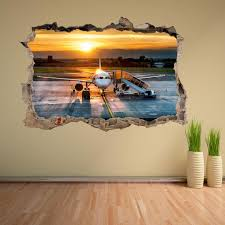 Airport Terminal Airplane Sunset Wall Sticker Mural Decal Etsy