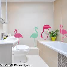 Flamingo Vinyl Wall Window Art Set Bathroom Wall Art Decals Simple Stencils