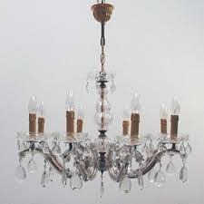 crystal 8 light chandelier 1950s