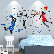 Shijuehezi Basketball Player Wall Stickers Creative Sports Style Wall Decals For Kids Room Basketball Court Decoration Wall Stickers Aliexpress