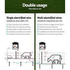 Giantz 8km Solar Power Electric Fence Charger Energiser 0 3j White