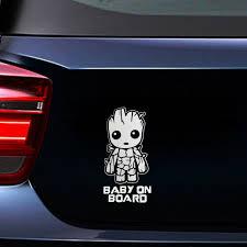Baby On Board Cute Groot Car Sticker Truck Laptop Toolbox Pet Windshield Decal Ebay